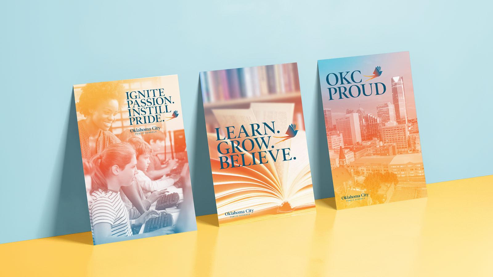 Oklahoma City Public Schools rebrand poster design mockups