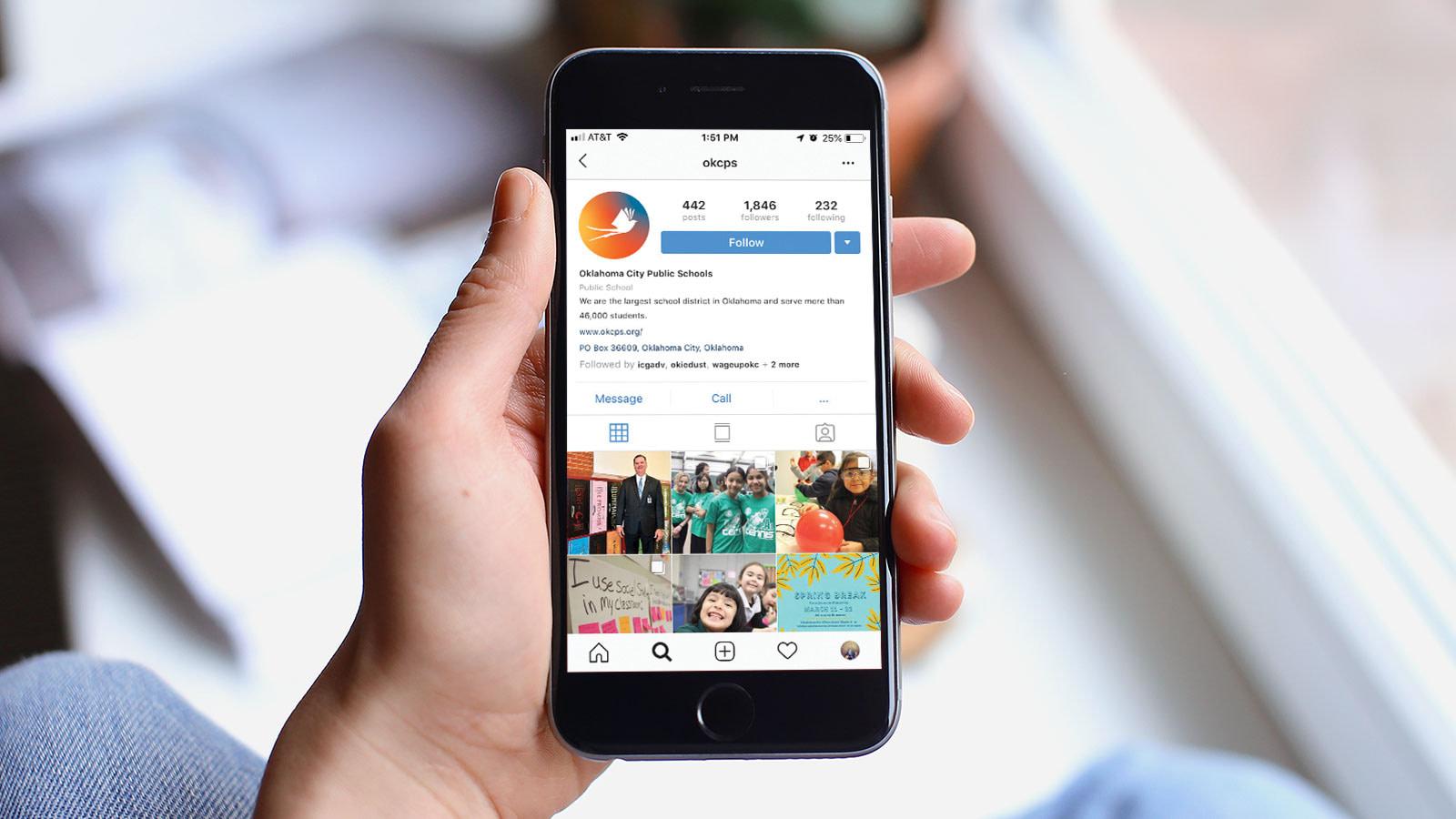 Instagram mockup for Oklahoma public schools branding and identity