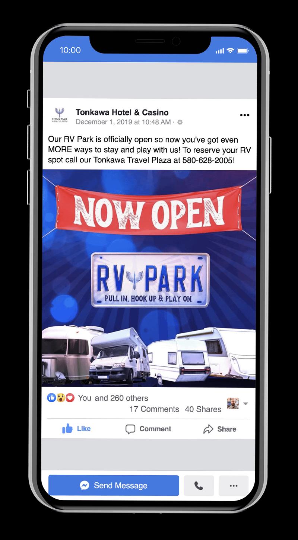 Marketing Tonkawa Hotel & Casino's new RV park