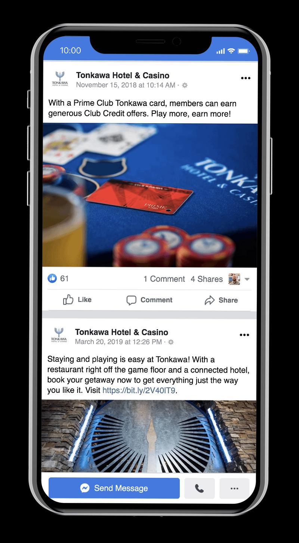 Players Club social media advertising for Tonkawa Hotel & Casino