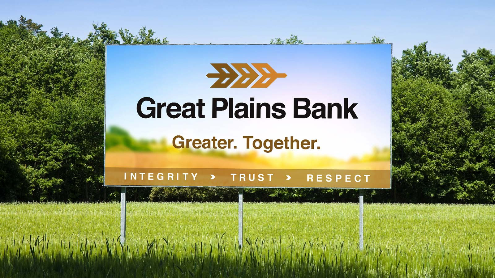 Great Plains Bank - outdoor billboard with new brand design logo