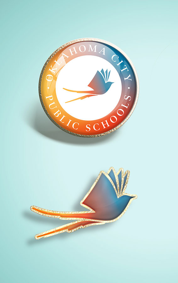 Lapel pin design for Oklahoma City Public Schools brand