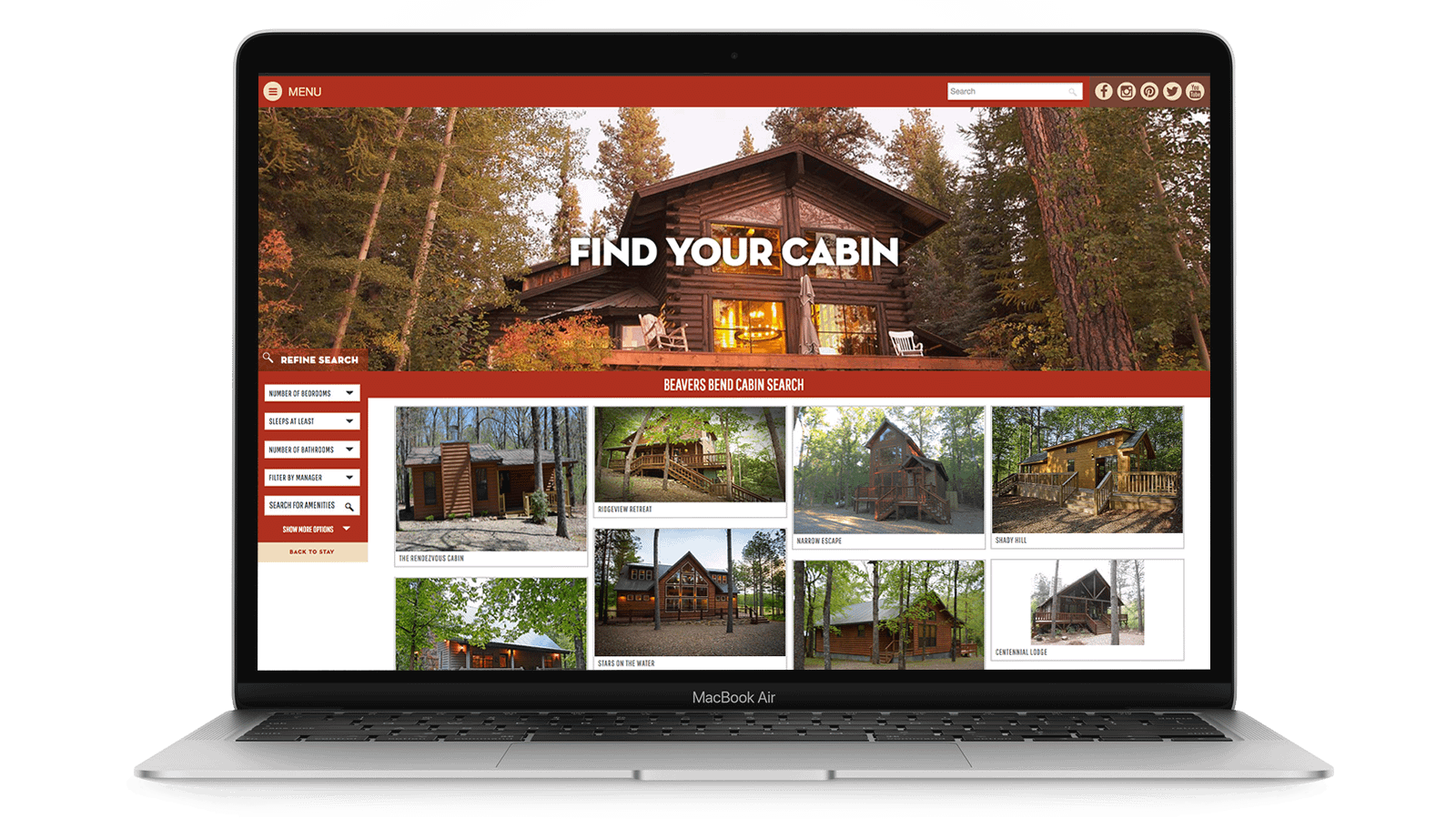 Find Your Cabin feature on the Visit McCurtain County website. Great branding and marketing.
